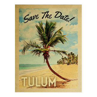 Tulum Mexico Save The Date Vintage Beach Palm Tree Postcard