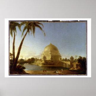 Tumba de Sher Shah, Sasaram, Bihar, c.1790 (aceite Póster
