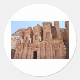 Tumba del palacio del Petra Jordania Pegatina Redonda
