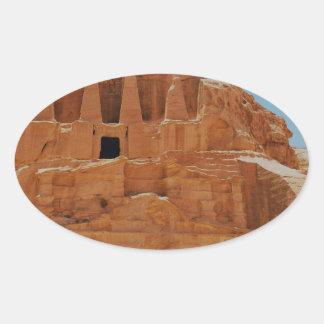Tumba del Petra de los obeliscos Pegatina Ovalada