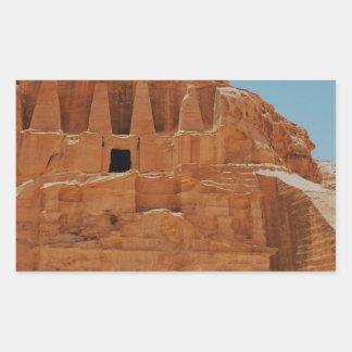 Tumba del Petra de los obeliscos Pegatina Rectangular