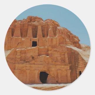 Tumba del Petra de los obeliscos Pegatina Redonda