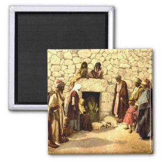 Tumba del vintage de Lazarus Bethany Israel 1890 Imán Cuadrado