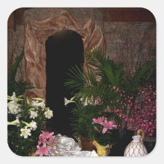 Tumba vacía de Pascua Pegatina Cuadrada