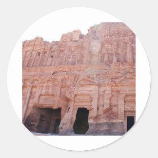 Tumbas del palacio del Petra Jordania Pegatina Redonda