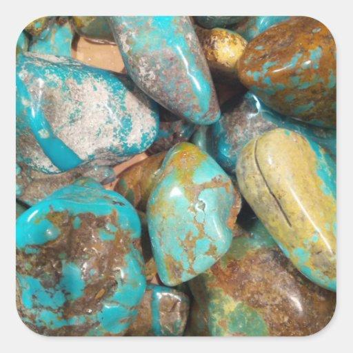 Tumble Finished Turquoise Stickers