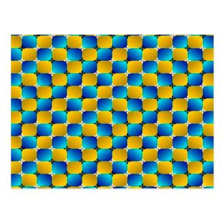 Tumbler #3 Optical Illusion Warping Blue/Yellow Postcard