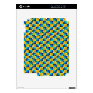 Tumbler #3 Optical Illusion Warping Blue/Yellow iPad 2 Decal