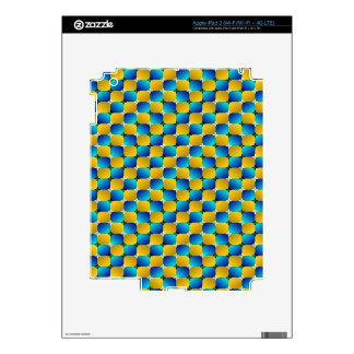 Tumbler #3 Optical Illusion Warping Blue/Yellow Skins For iPad 3