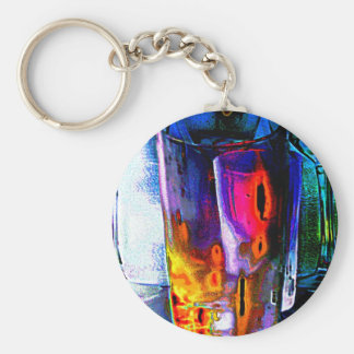 Tumbler, Multi Coloured Glass Key Chain