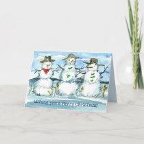 Tumbleweed Snowman Merry Christmas Card