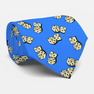 Tumbling Dice Gambling French Blue Two-sided Tie