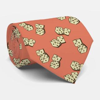 Tumbling Dice Gambling Papaya Two-sided Neck Tie