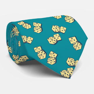 Tumbling Dice Gambling Teal Two-sided Neck Tie