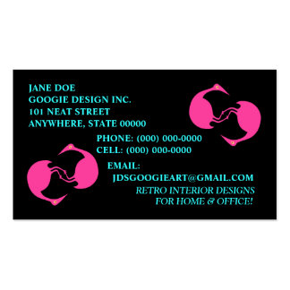 TUMBLING FLAMINGOS ~ RETRO STYLE BUSINESS CARDS! Double-Sided STANDARD BUSINESS CARDS (Pack OF 100)
