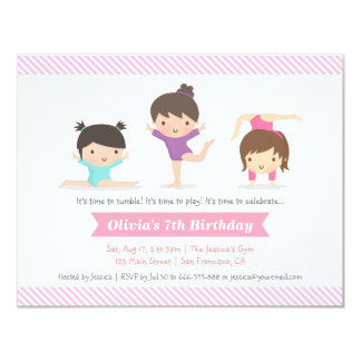 Tumbling Girls Gymnastics Birthday Party Card