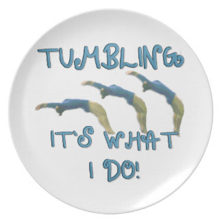 Tumbling gymnast dinner plate
