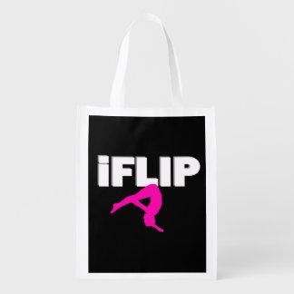 Tumbling gymnast grocery bag