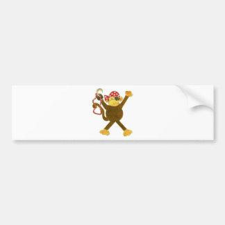 Tumbling Monkey Pirate Bumper Sticker