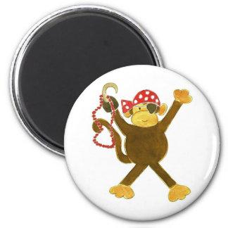 Tumbling Monkey Pirate 2 Inch Round Magnet