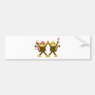 Tumbling Monkey Princess & Monkey Pirate Bumper Sticker