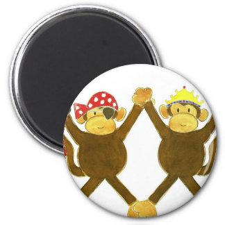 Tumbling Monkey Princess & Monkey Pirate 2 Inch Round Magnet
