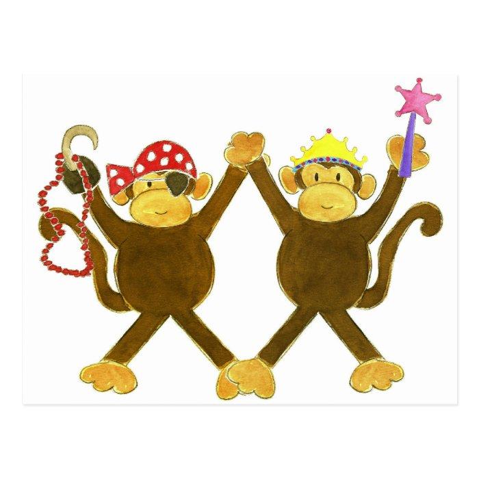 Tumbling Monkey Princess & Monkey Pirate Postcard