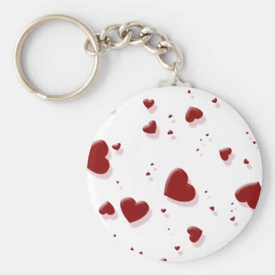 Tumbling Red Hearts Keychain