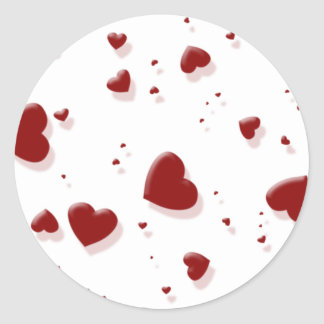 Tumbling Red Hearts Stickers