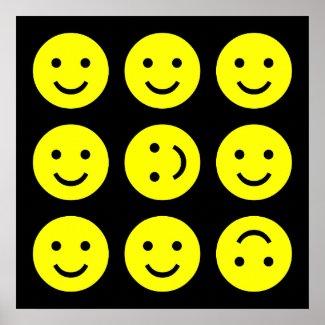 Tumbling Smileys - On Black zazzle_print