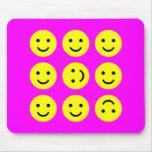 Tumbling Smileys - On Magenta Pink Mouse Mat
