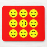 Tumbling Smileys - On Red Mouse Pads