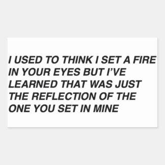 Tumblr Writing // Set Fire Rectangular Sticker