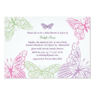 Tummy Flutters Baby Shower Invitation purple