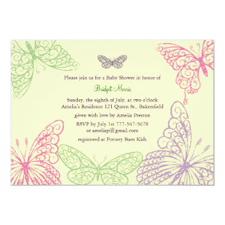 Tummy Flutters Baby Shower Invitation yellow