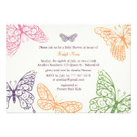 Tummy Flutters Baby Shower Invite ivory