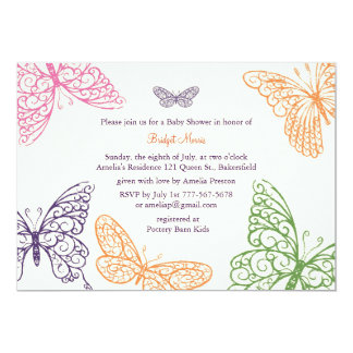"Tummy Flutters Baby Shower Invite ivory 5"" X 7"" Invitation Card"