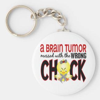 Tumor cerebral ensuciado con el polluelo incorrect llaveros