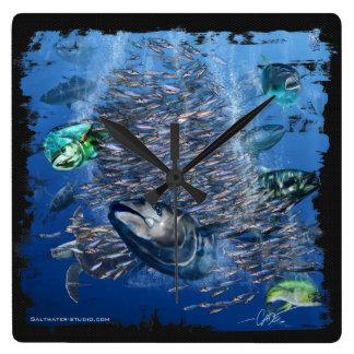 Tuna and Bait Wall clock