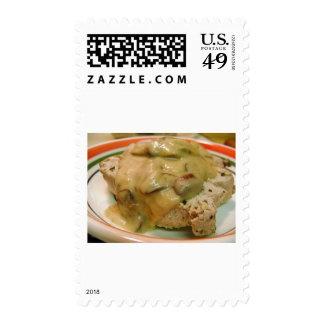 Tuna Mushrooms Sauces Postage Stamp