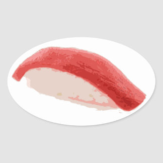 Tuna Nigiri Sushi Oval Sticker