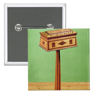 Tunbridge-ware tea poy 2 inch square button