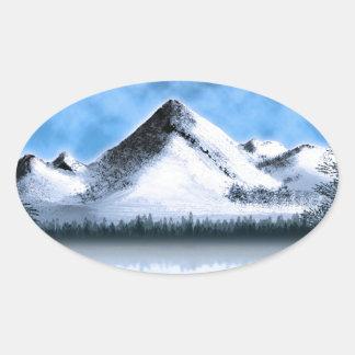 Tundra Moonrise Oval Stickers