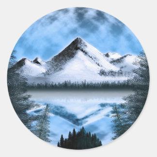 Tundra Moonrise Round Stickers