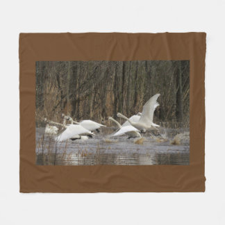 Tundra Swan Birds Wildlife Animal Fleece Blanket