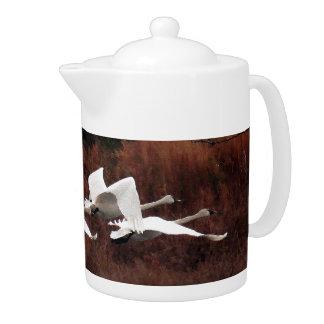 Tundra Swan Birds Wildlife Animals Teapot