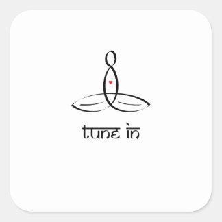 Tune In - Black Sanskrit style Square Sticker