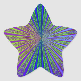 Túnel abstracto púrpura del fractal de la verde li pegatina forma de estrella personalizada