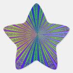 Túnel abstracto púrpura del fractal de la verde pegatina forma de estrella personalizada