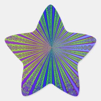 Túnel abstracto púrpura del fractal de la verde pegatina en forma de estrella